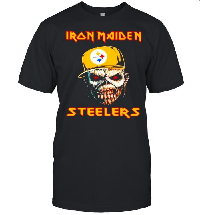 Iron Maiden Wear Hat Logo Steelers Football shirt Classic Men's T-shirt