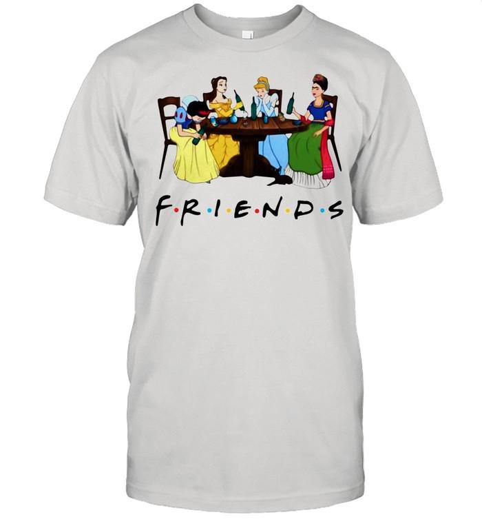 Frida Kahlo and Disney princesses drinking Friends TV show funny shirt Classic Men's T-shirt