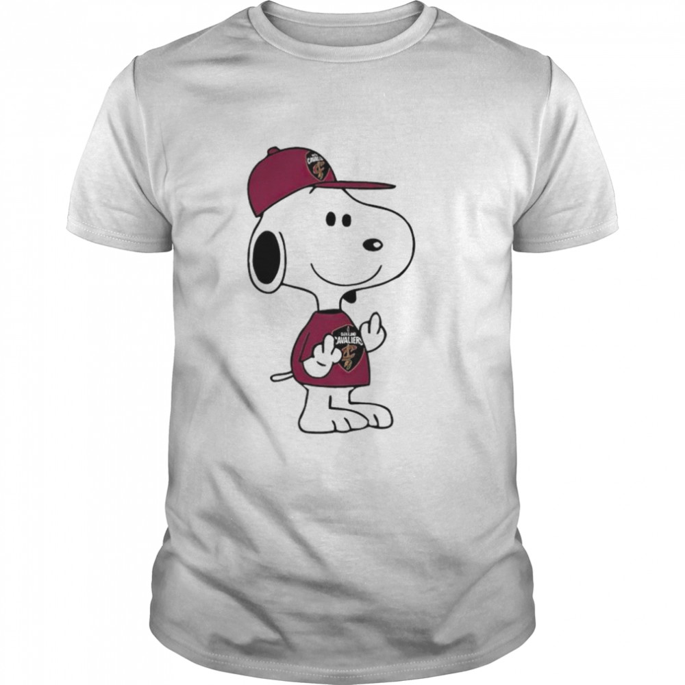 Snoopy Cleveland Cavaliers NBA Double Middle Fingers Fuck You shirt Classic Men's