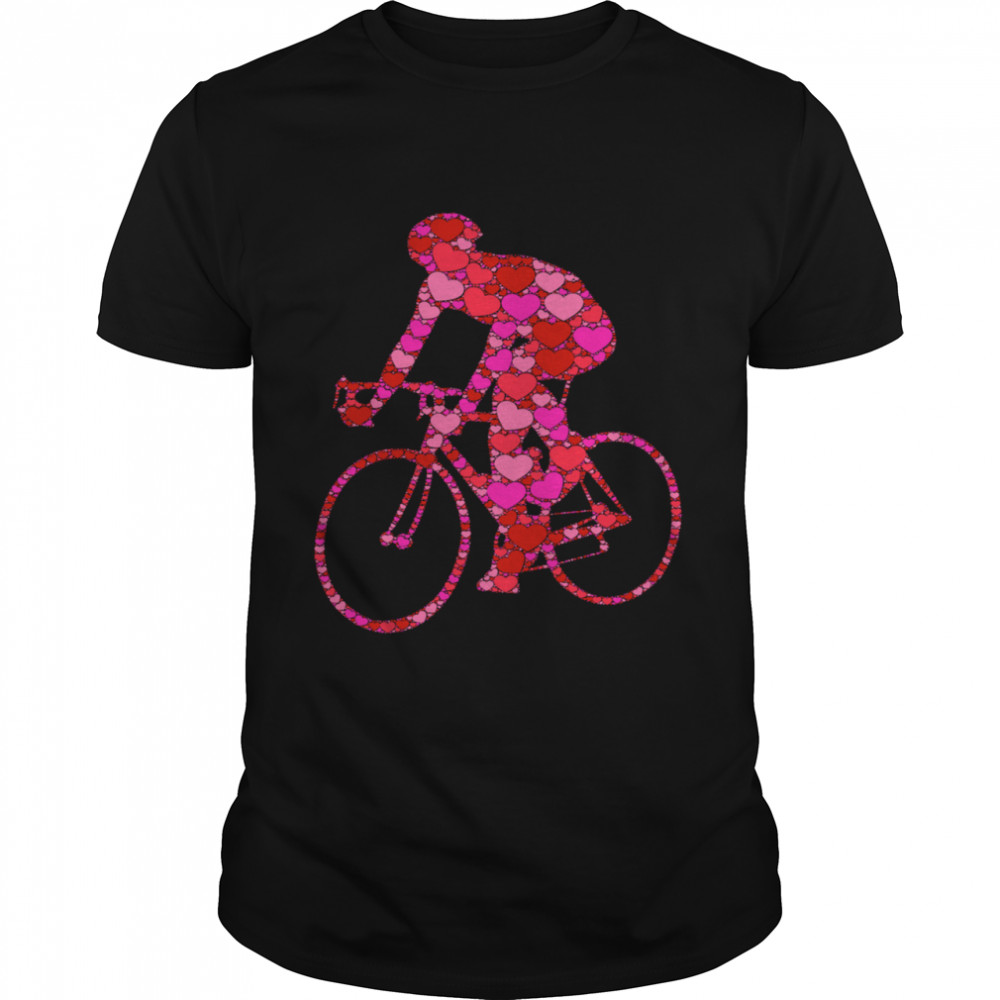 Bike Pink Red Heart Valentines Day For Bicycle Racer shirt Classic Men's