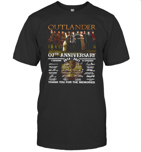 Outlander 07Th Anniversary 2014 2021 05 Season 67 Episodes Thank You For The Memories Signatures shirt Classic Men's