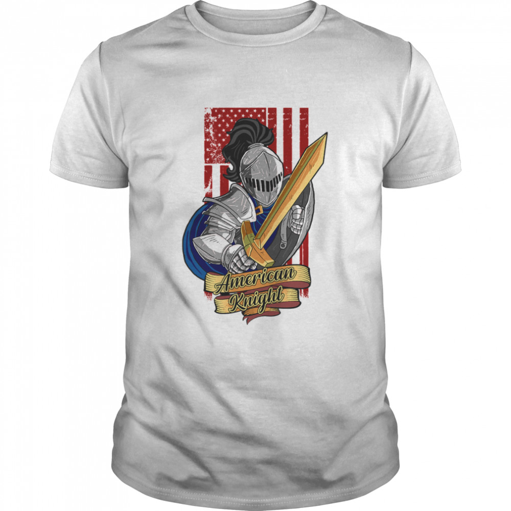 Knights Lover American Knight With Sword And Flag shirt Classic Men's