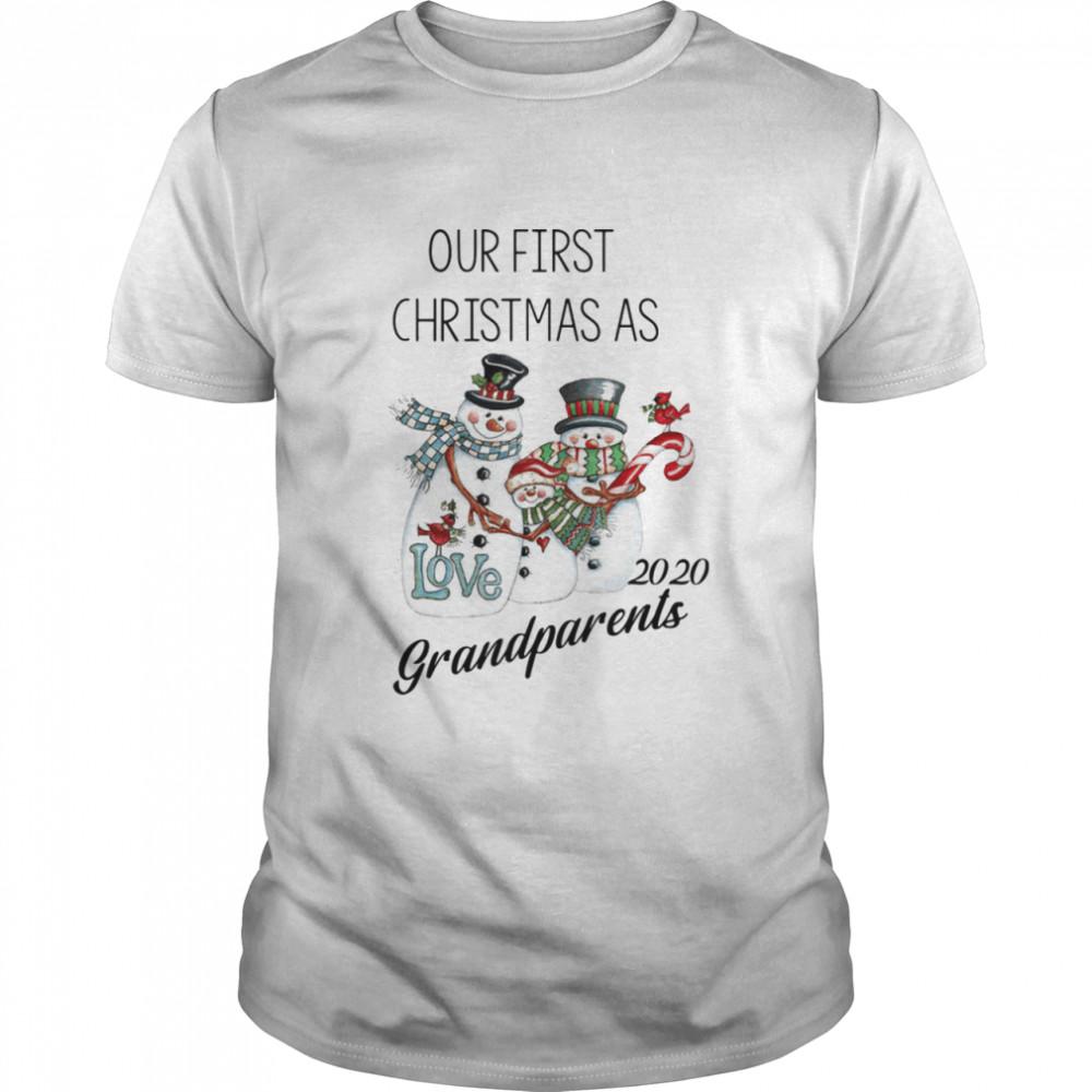 Snowman Our First Christmas Love 2020 Grandparents shirt Classic Men's
