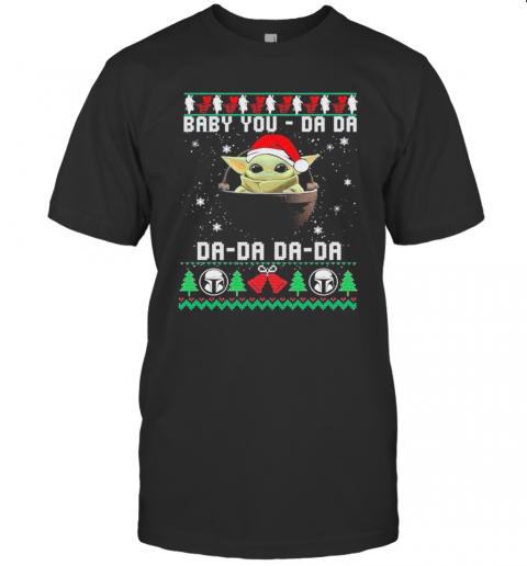 Baby Yoda Santa Da Da Da Da Ugly Christmas shirt Classic Men's