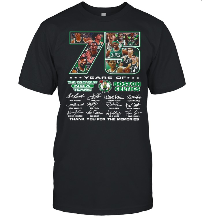 75 Years Of The Greatest NBA Teams Boston Celtics Thank You For The Memories Signature shirt Classic Men's T-shirt