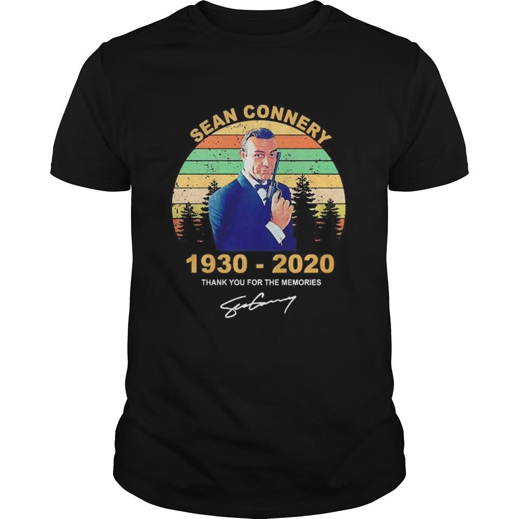 James Bond Sean connery 19302020 thank you for the memories signature vintage shirt Classic Men's