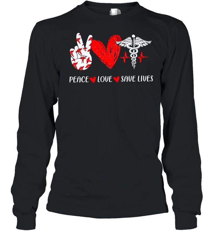 Peace Love Save Lives Heartbeat shirt Long Sleeved T-shirt