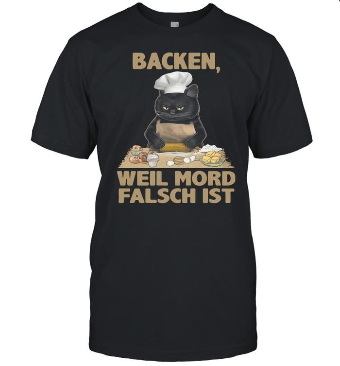 Black Cat Backen Weil Mord Falsch Ist shirt Classic Men's T-shirt