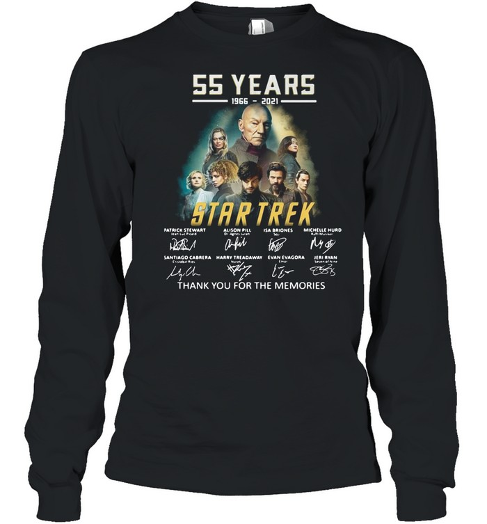 55 years 1966-2021 Star Trek thank you for the memories signatures shirt Long Sleeved T-shirt