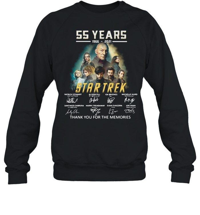 55 years 1966-2021 Star Trek thank you for the memories signatures shirt Unisex Sweatshirt