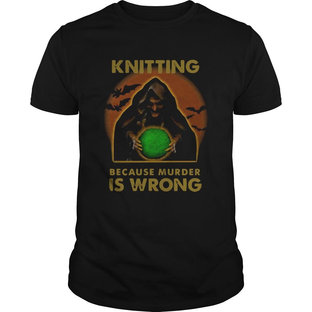 Knitting Because Murder Is Wrong shirt Classic Men's