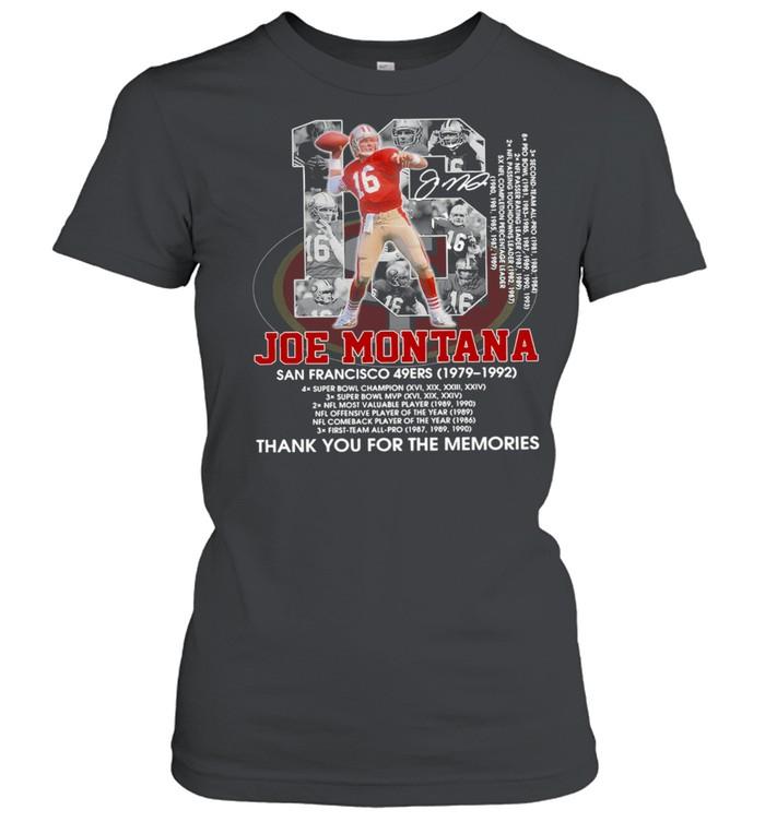 16 Joe Montana San Francisco 49Ers 1979 1992 Thank You For The Memories  Classic Women's T-shirt