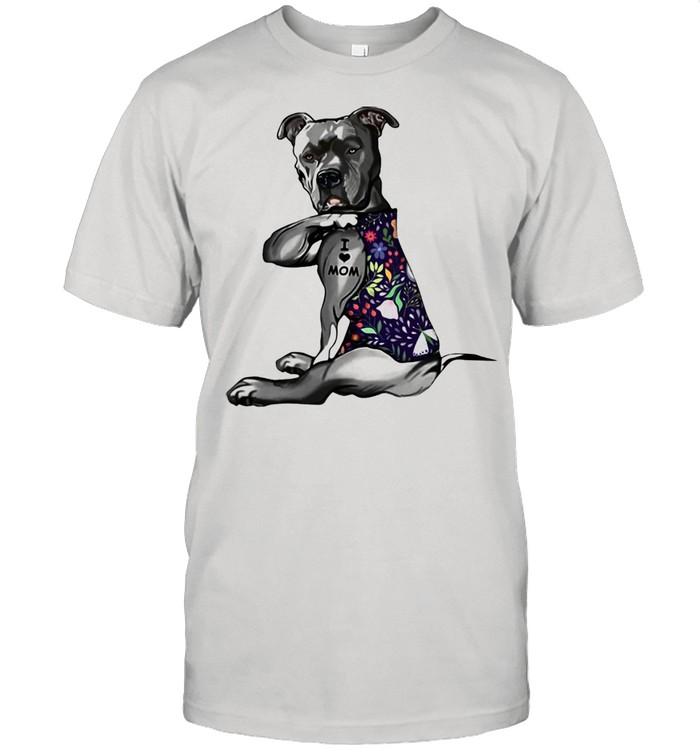 Pitbull tattoo I love mom flower shirt Classic Men's T-shirt
