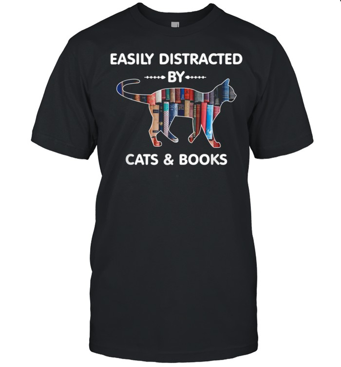 Cat Nerdy Easily Distracted By Cats and Books shirt Classic Men's T-shirt