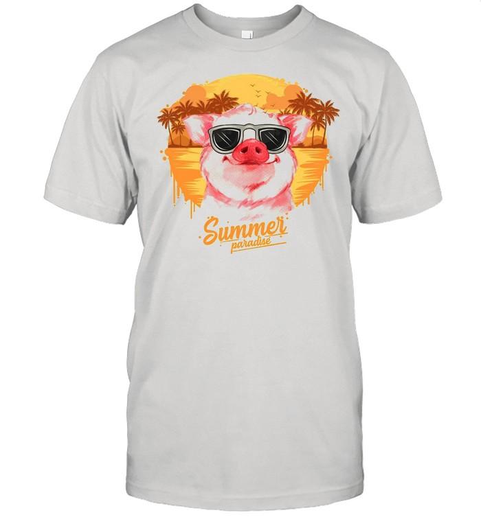 Retro Vintage Summer Paradise Pig shirt Classic Men's T-shirt