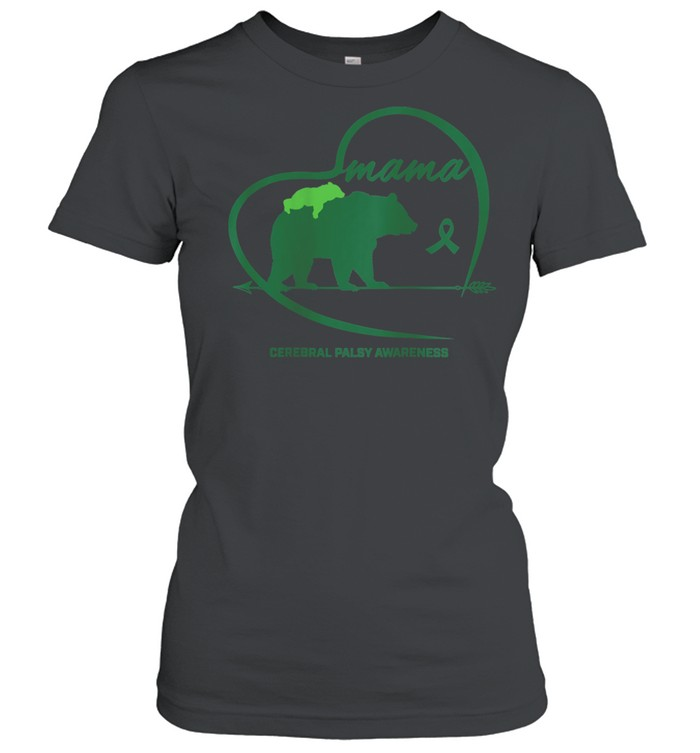 CP Mom Mama Bear Green Ribbon Cerebral Palsy Awareness Mom shirt Classic Women's T-shirt