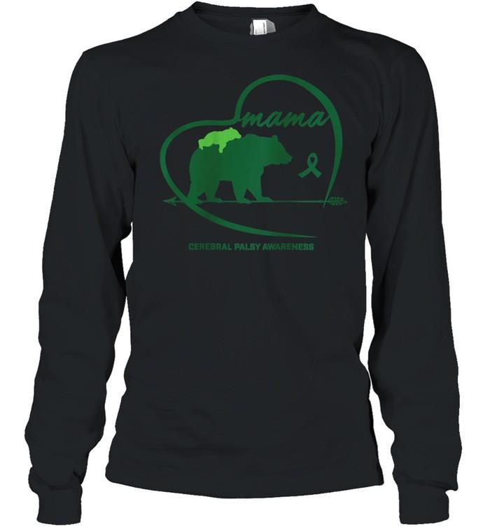 CP Mom Mama Bear Green Ribbon Cerebral Palsy Awareness Mom shirt Long Sleeved T-shirt