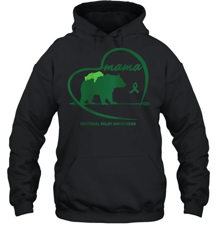 CP Mom Mama Bear Green Ribbon Cerebral Palsy Awareness Mom shirt Unisex Hoodie