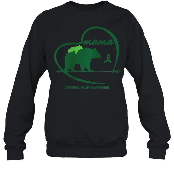 CP Mom Mama Bear Green Ribbon Cerebral Palsy Awareness Mom shirt Unisex Sweatshirt