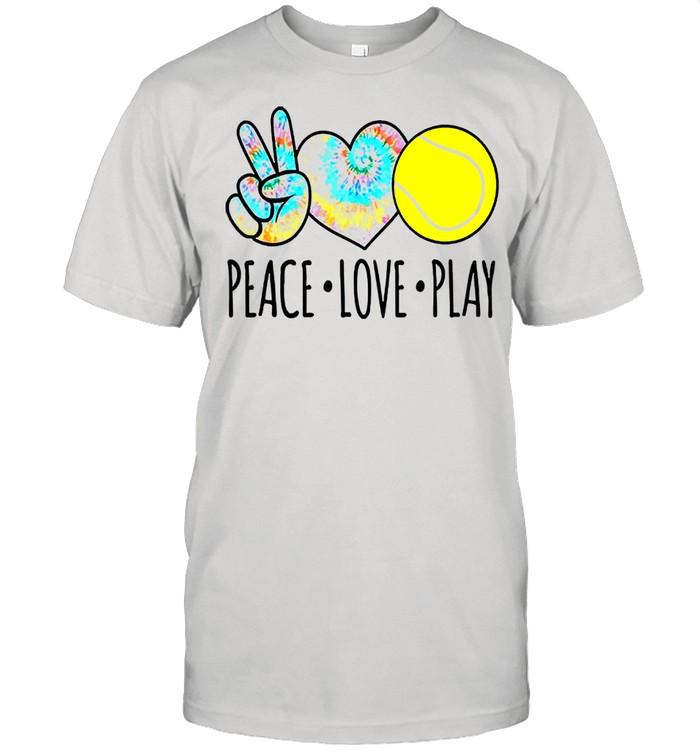 Tie dye tennis lover peace love play shirt Classic Men's T-shirt