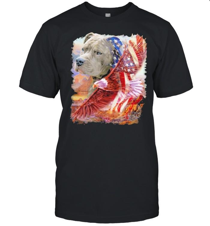 Eagle Pitbull American Wings Happy 4th Of July  Classic Men's T-shirt