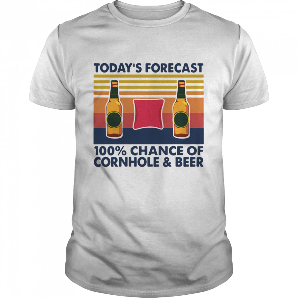 Today's Forecast 100% Chance Of Cornhole And Beer Vintage Retro T-shirt Classic Men's T-shirt