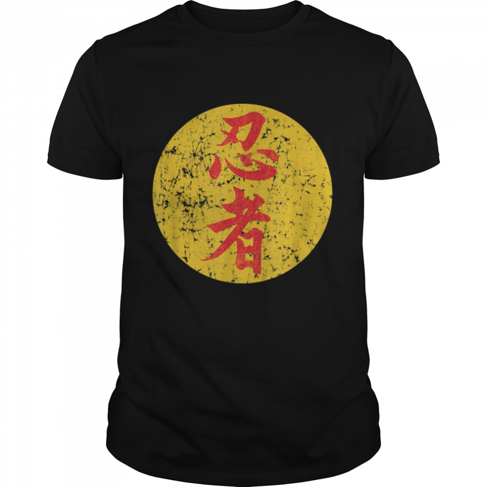 Ninja in Japanese Kanji Black shirt Classic Men's T-shirt