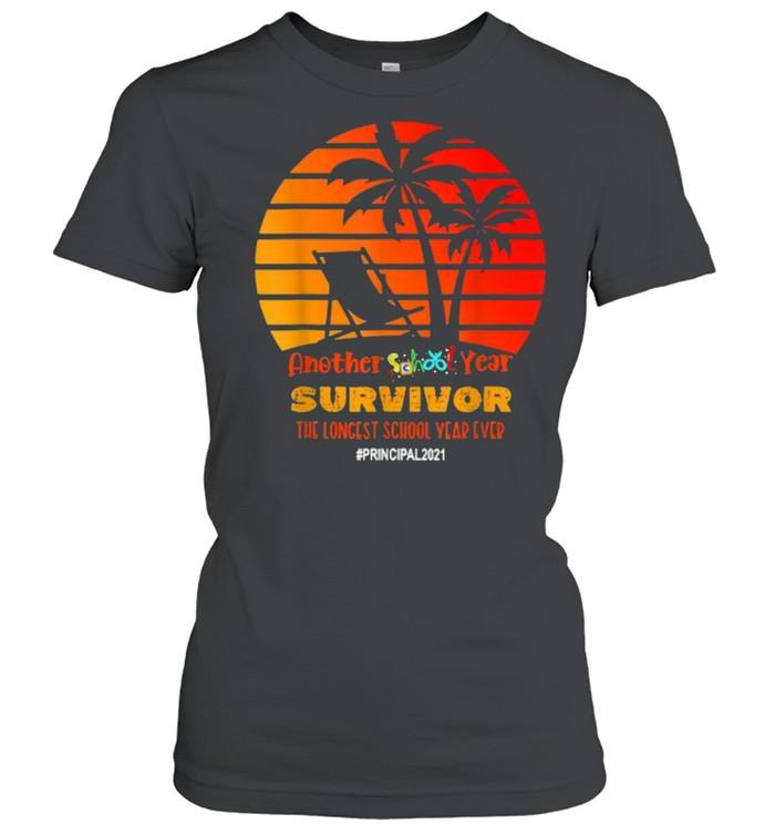 Another School Year Survivor Principal 2021 Longest Year Vintage Sunset Beach T- Classic Women's T-shirt