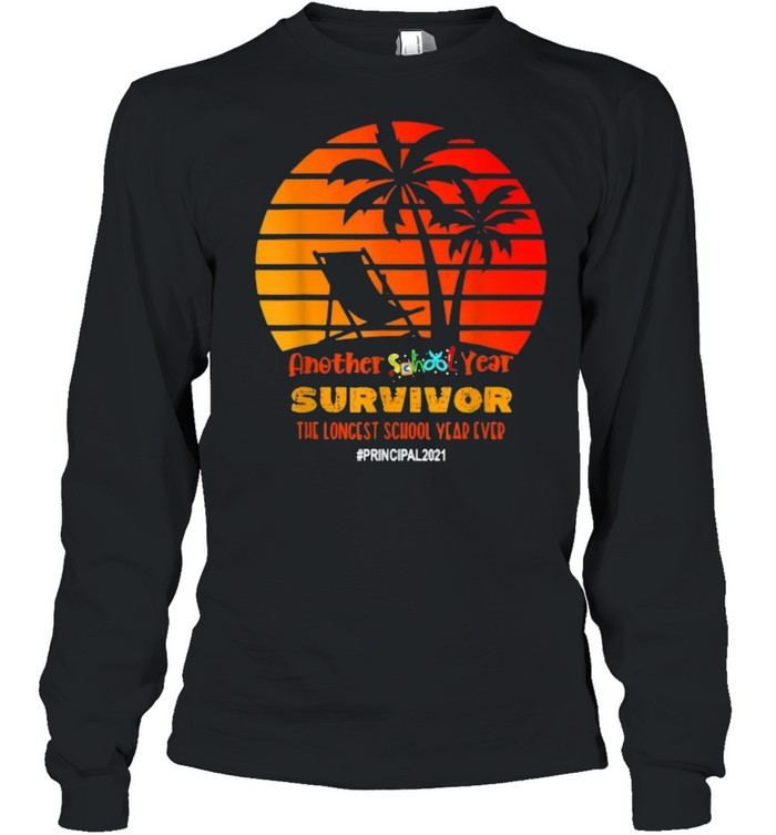 Another School Year Survivor Principal 2021 Longest Year Vintage Sunset Beach T- Long Sleeved T-shirt