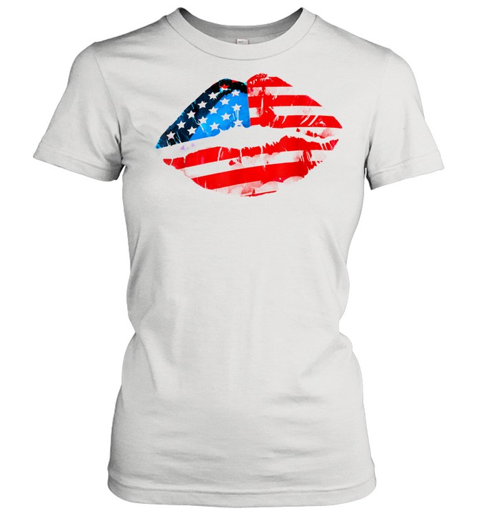 Vintage American Flag Lips 4th Of July Patriotic USA Day T- Classic Women's T-shirt