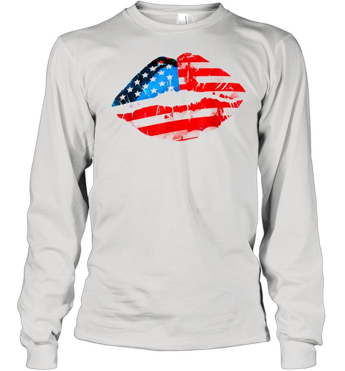 Vintage American Flag Lips 4th Of July Patriotic USA Day T- Long Sleeved T-shirt
