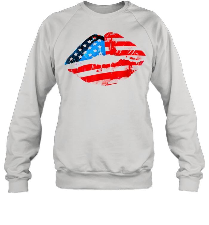 Vintage American Flag Lips 4th Of July Patriotic USA Day T- Unisex Sweatshirt
