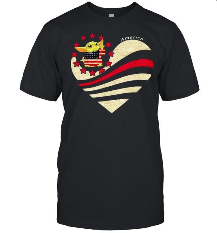 America Lover heart yoda american flag shirt Classic Men's T-shirt