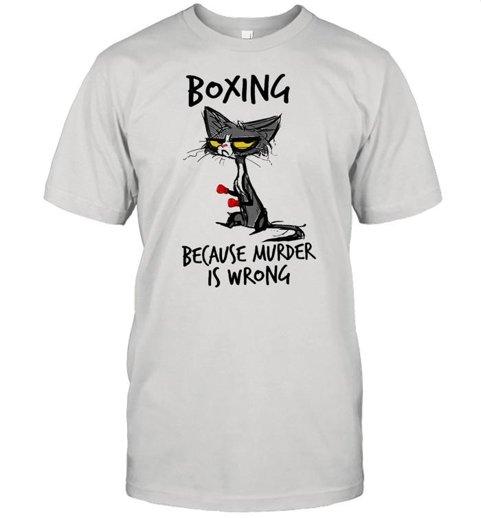 Black Cat boxing because murder is wrong shirt Classic Men's T-shirt