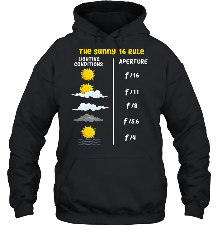 The Sunny 16 Rule Lighting Conditions Aperture shirt Unisex Hoodie