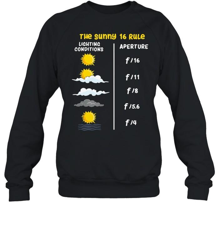 The Sunny 16 Rule Lighting Conditions Aperture shirt Unisex Sweatshirt