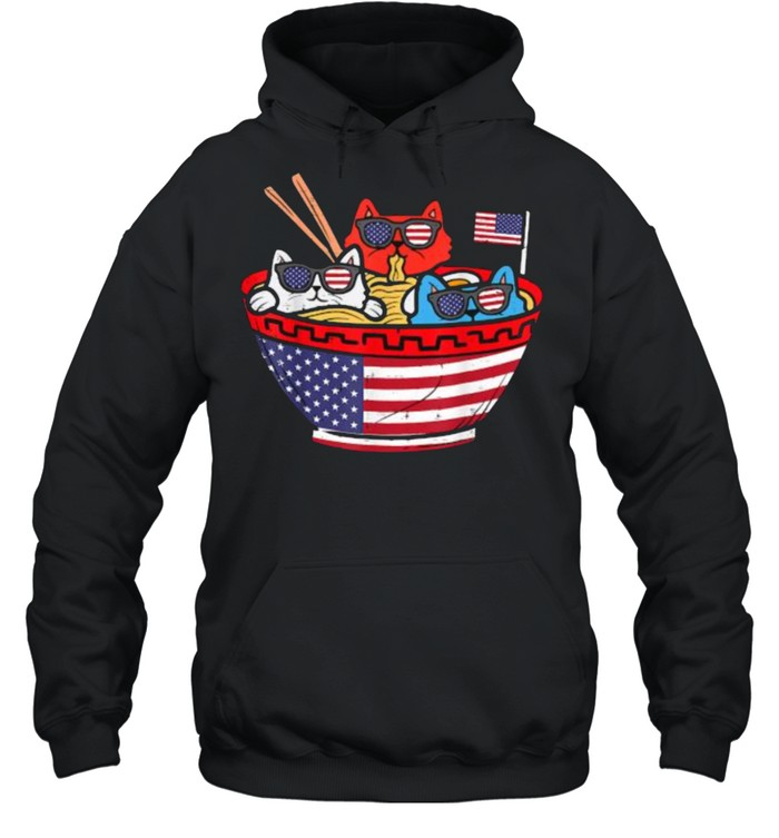 Cats Ramen Anime American Flag USA Funny 4th Of July Independence T- Unisex Hoodie