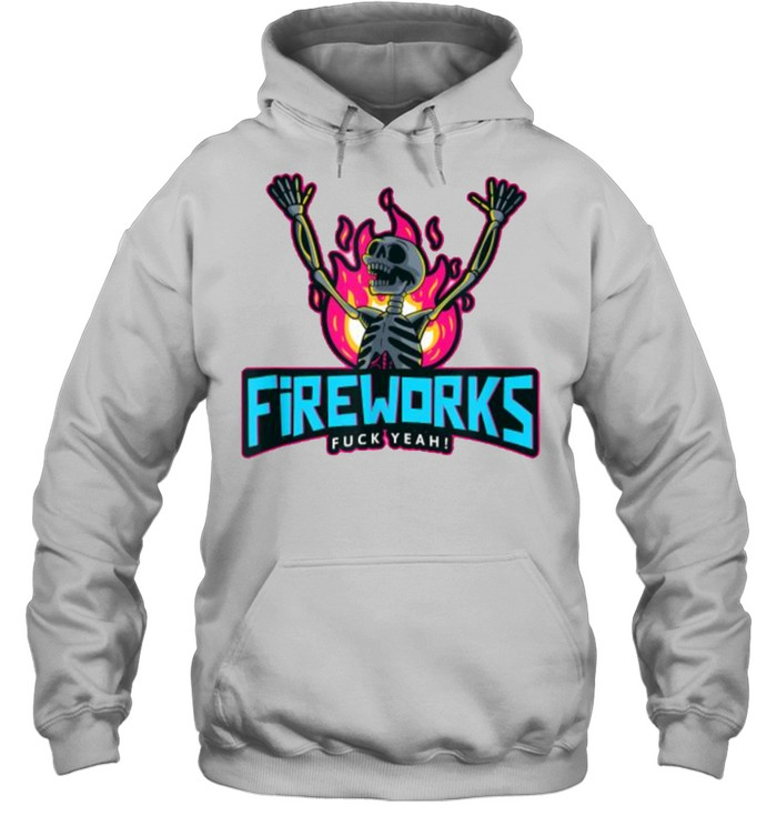 Fireworks Fuck Yeah 4th of July Independence Day Fire Skeleton T- Unisex Hoodie