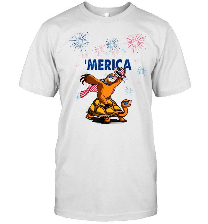 Sloth Turtle Merica Independence Day shirt Classic Men's T-shirt