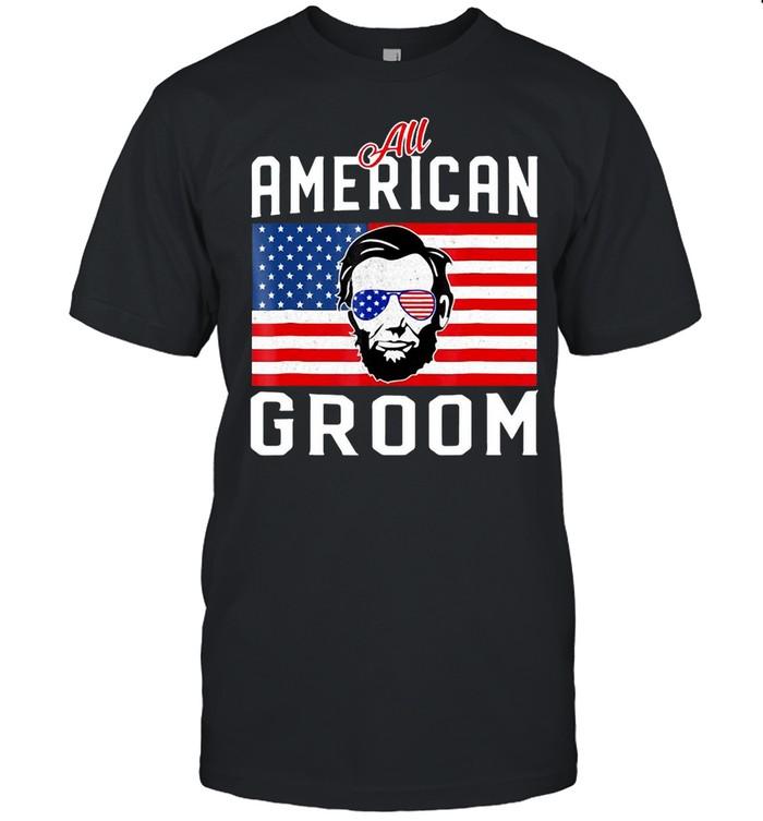 American Flag Groom July 4Th Bachelor Wedding Party  Classic Men's T-shirt