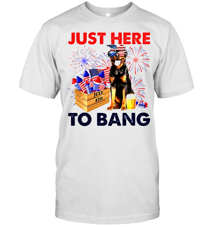 Rottweiler Just Here To Bang American Flag Firework Independence Day 4th Of July shirt Classic Men's T-shirt