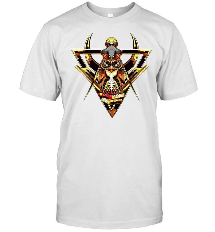 Masonic Mason Square Compass Owl Books shirt Classic Men's T-shirt