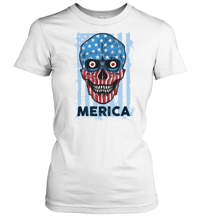 American Skull 4th of July Party Independence USA Flag shirt Classic Women's T-shirt