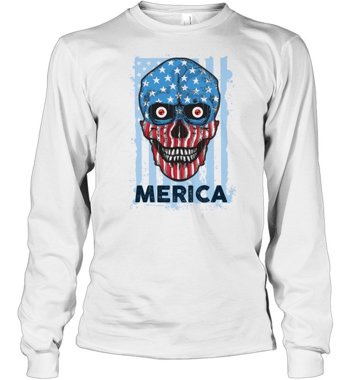 American Skull 4th of July Party Independence USA Flag shirt Long Sleeved T-shirt