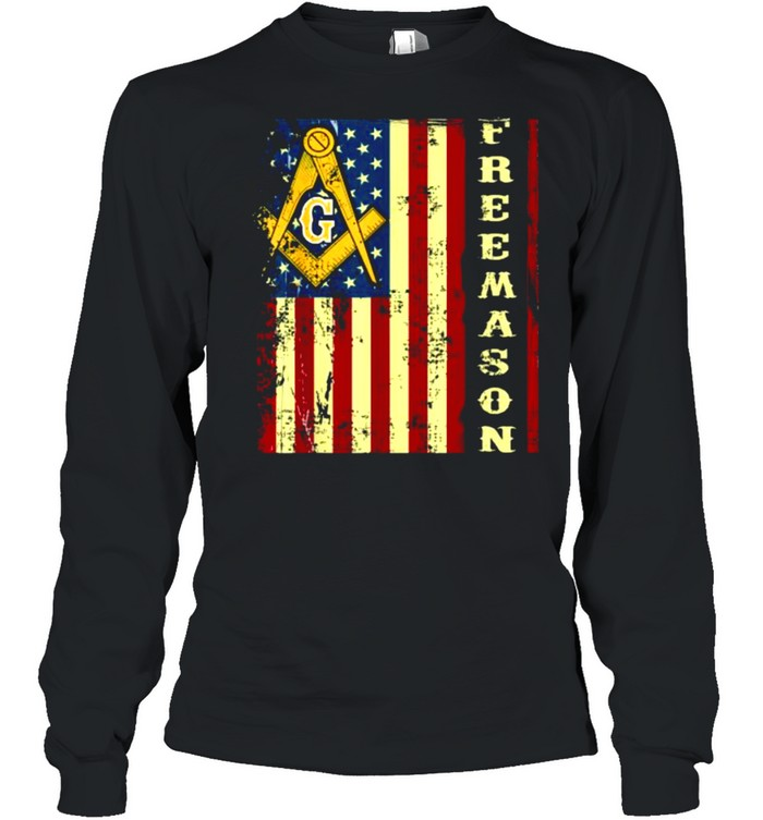 Freemason US Flag 4th of July Independence Parents' Day T- Long Sleeved T-shirt