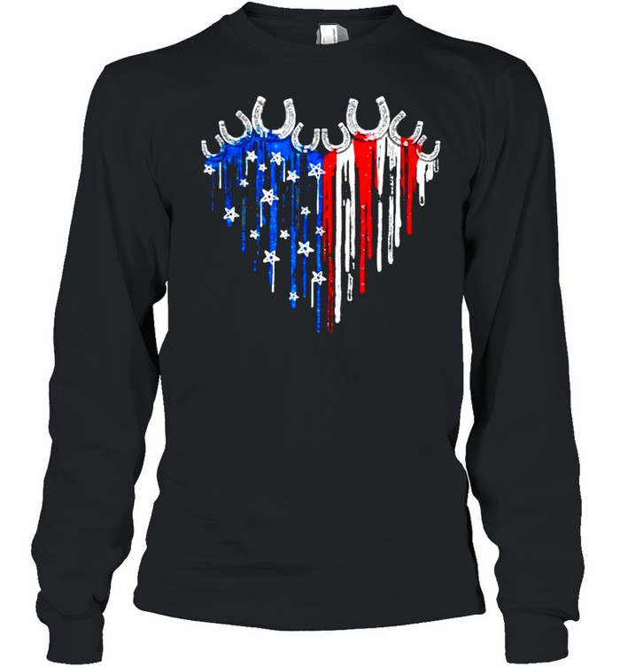 Horseshoe Heart American Flag Independence Day Long Sleeved T-shirt