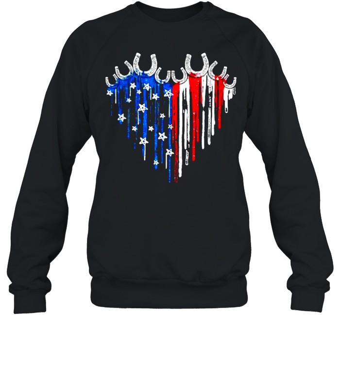 Horseshoe Heart American Flag Independence Day Unisex Sweatshirt