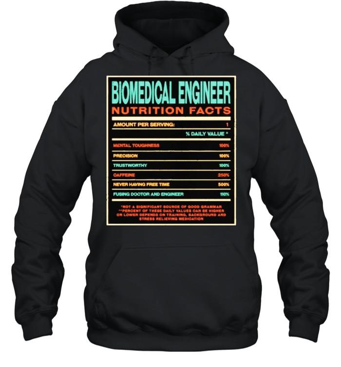 Biomedical Engineer Nutrition Facts Funny Engineering T- Unisex Hoodie