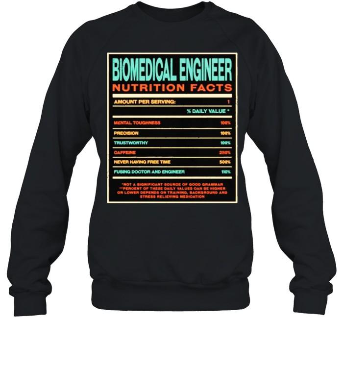 Biomedical Engineer Nutrition Facts Funny Engineering T- Unisex Sweatshirt