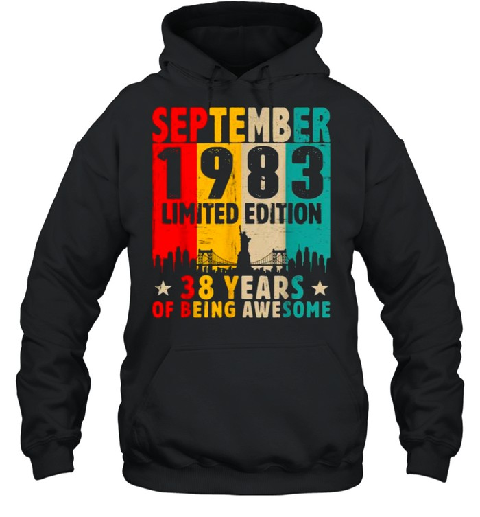 Born In September 1983 Limited Edition 38 Years Of Being Awesome Vintage T- Unisex Hoodie